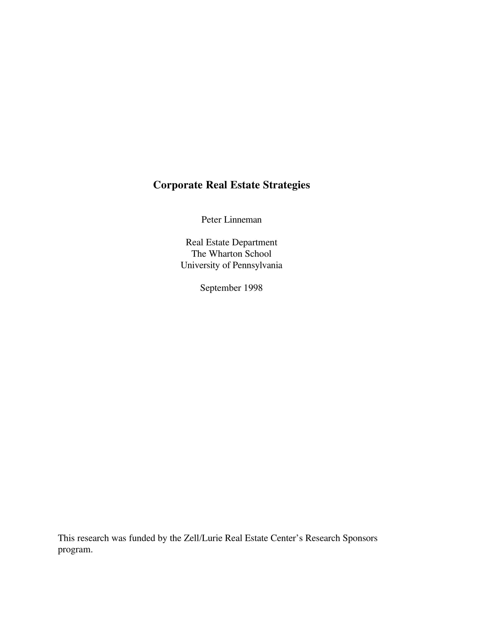 corporate real estate strategies for management planning example 1