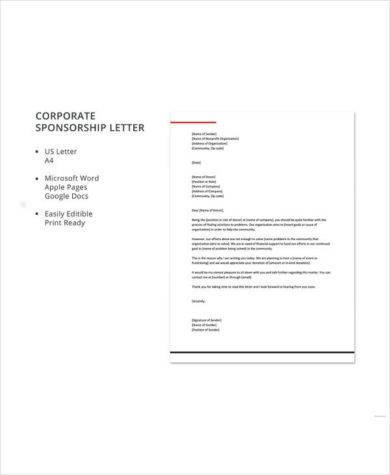 corporate sponsorship letter template