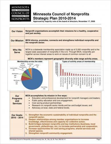 council of non profits strategic plan example