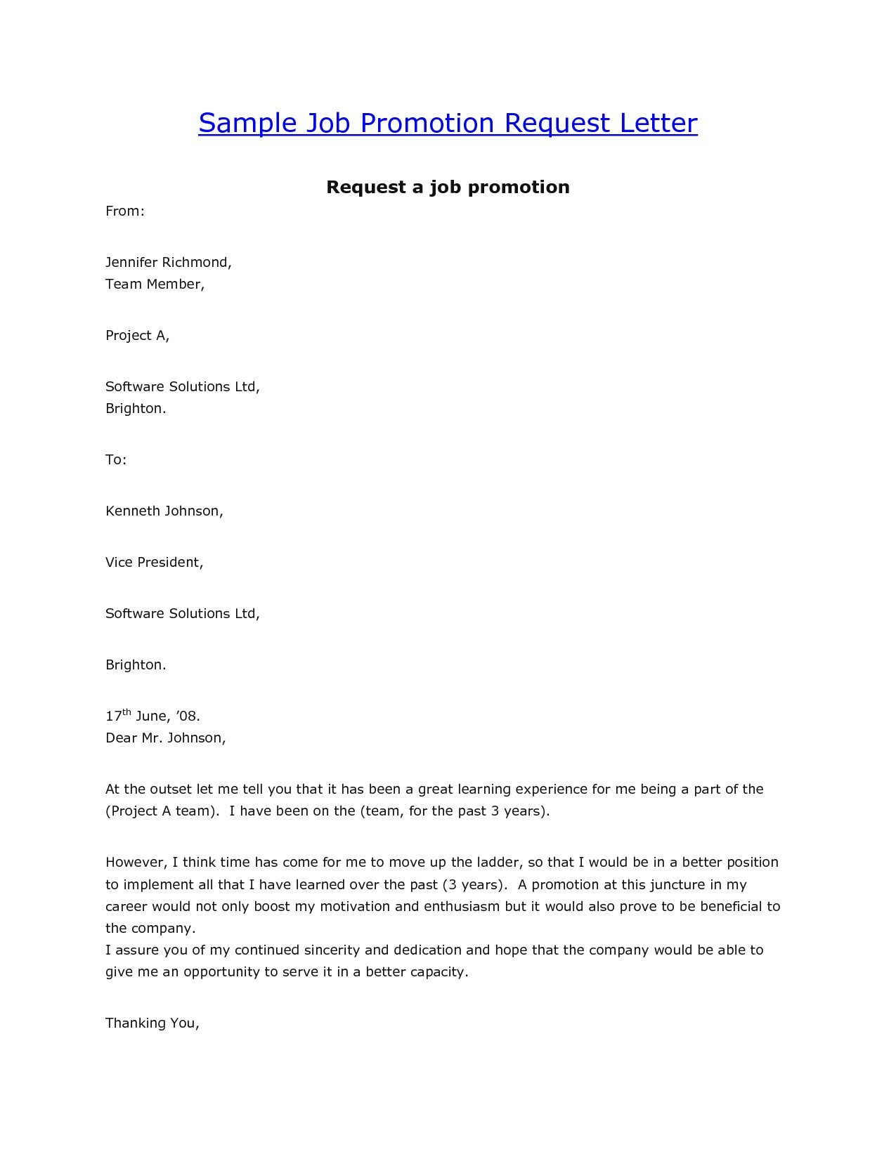 cover for promotion letter example