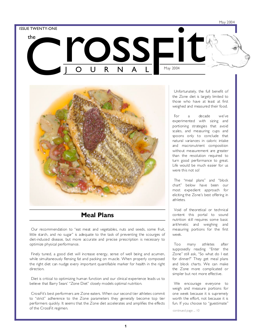 crossfit journal meal plan example