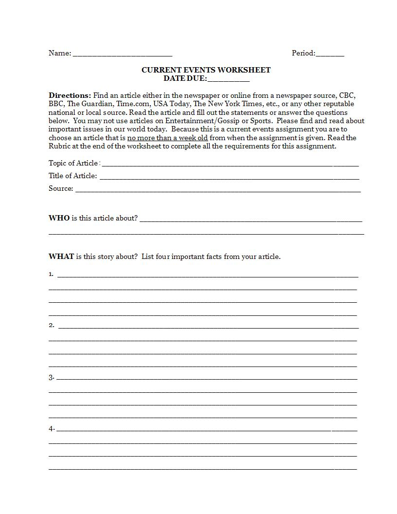 current events article worksheet example