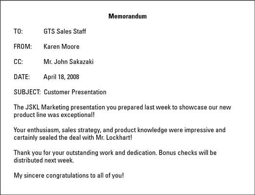 customer presentation gts sales staff memo example