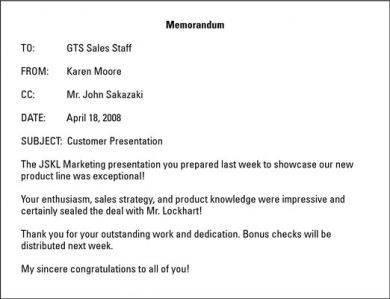 customer presentation gts sales staff memo example2