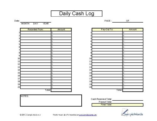 daily cash log