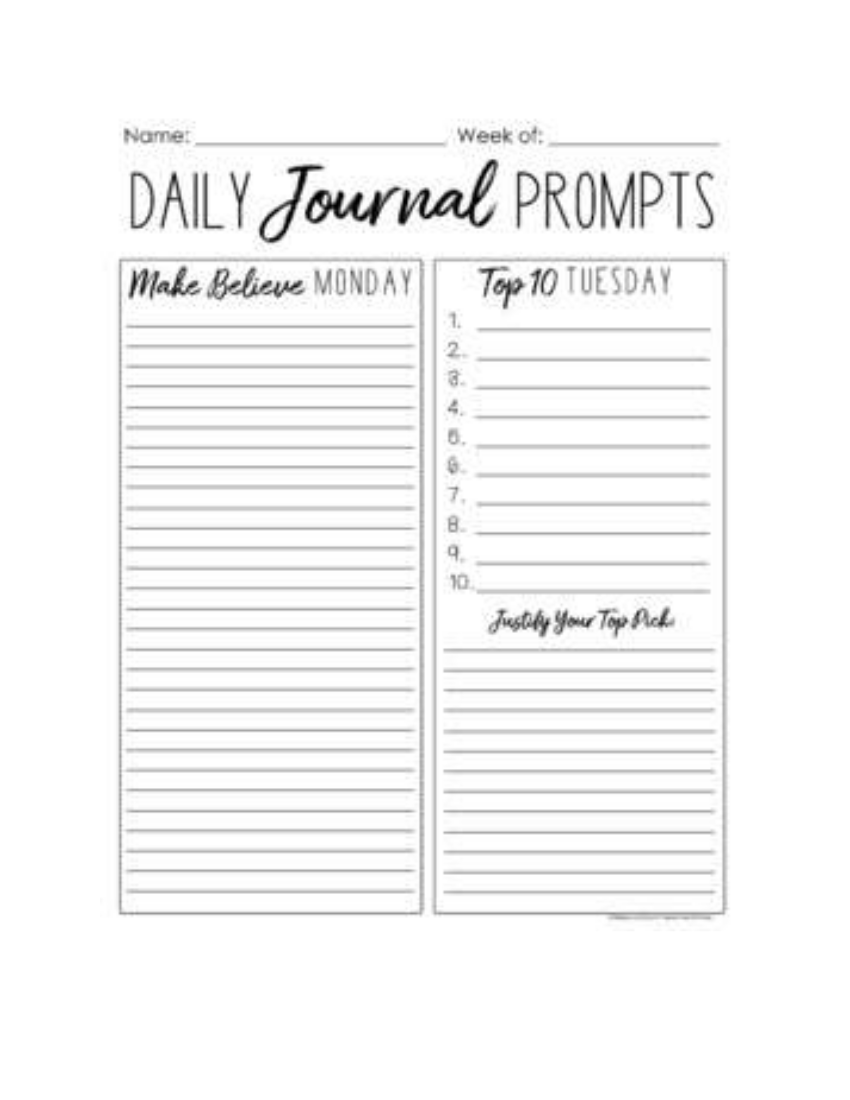 daily journal prompt