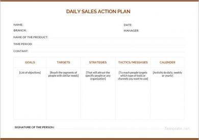 daily sales action plan example1