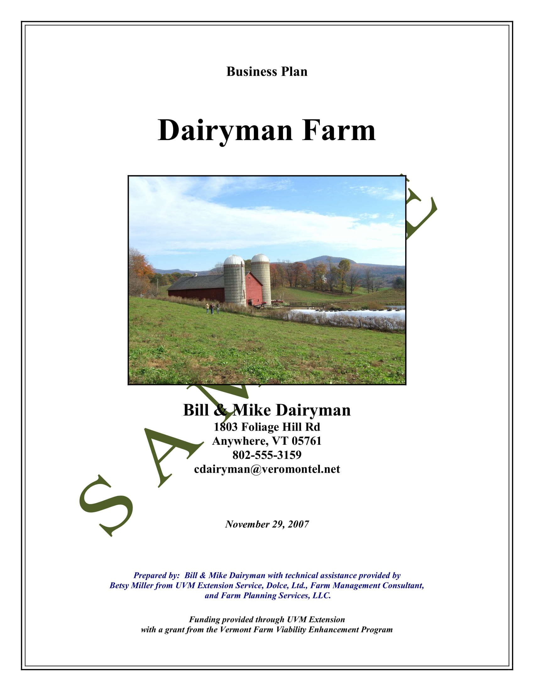farm business plan example