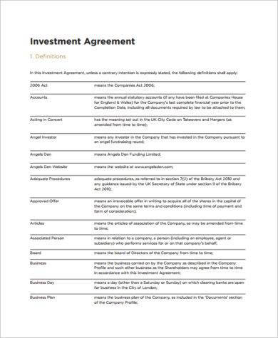 definition of terms investment agreement example1