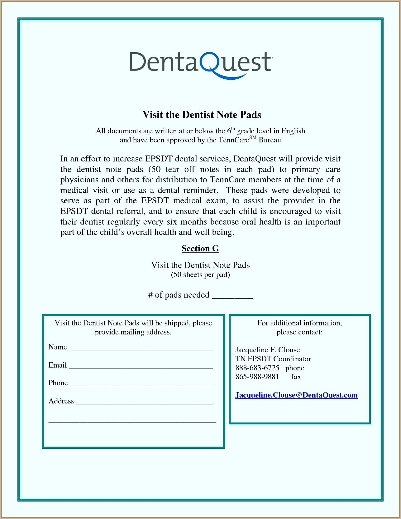 dental visit note example