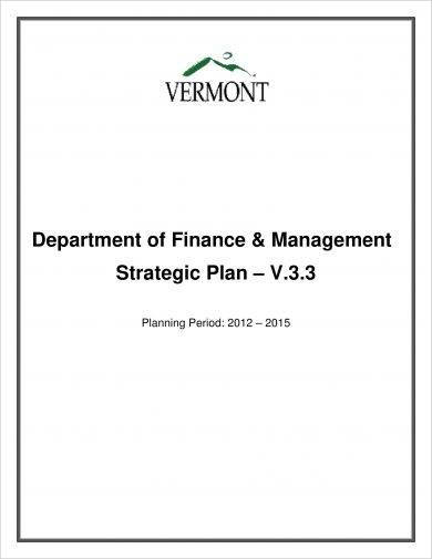 department of finance and management strategic plan example