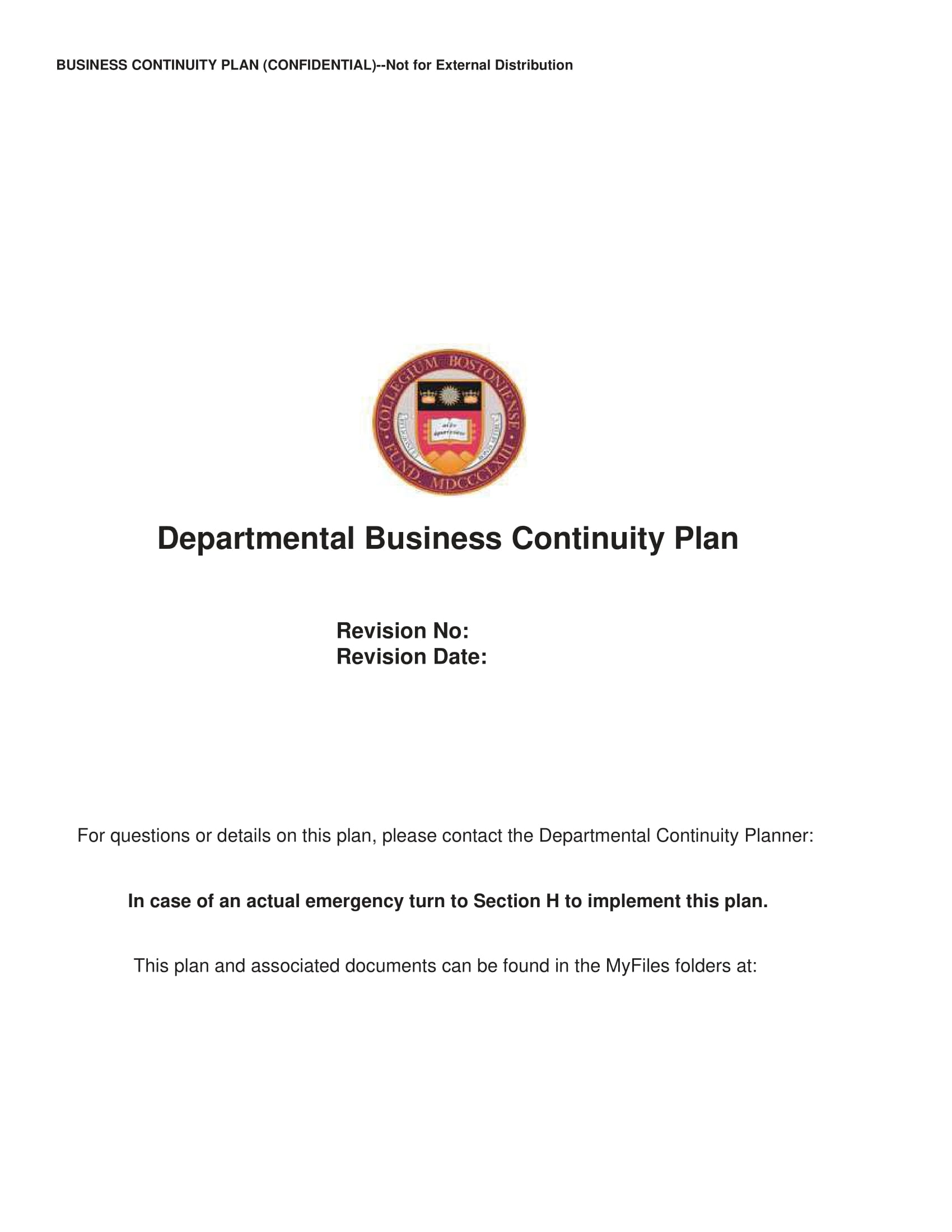 departmental business continuity plan example 01