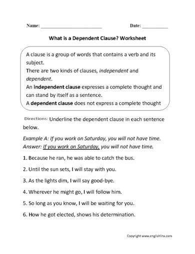 dependent clause worksheet exampl