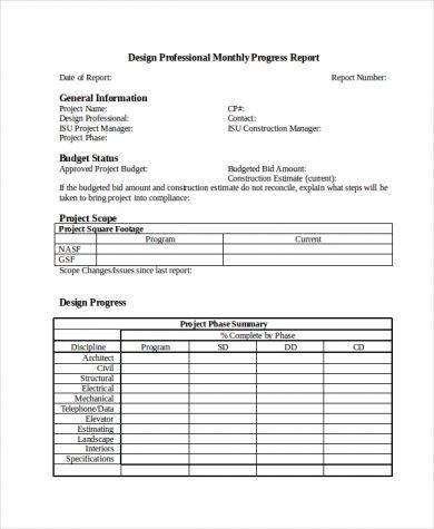 design professional project status report example1