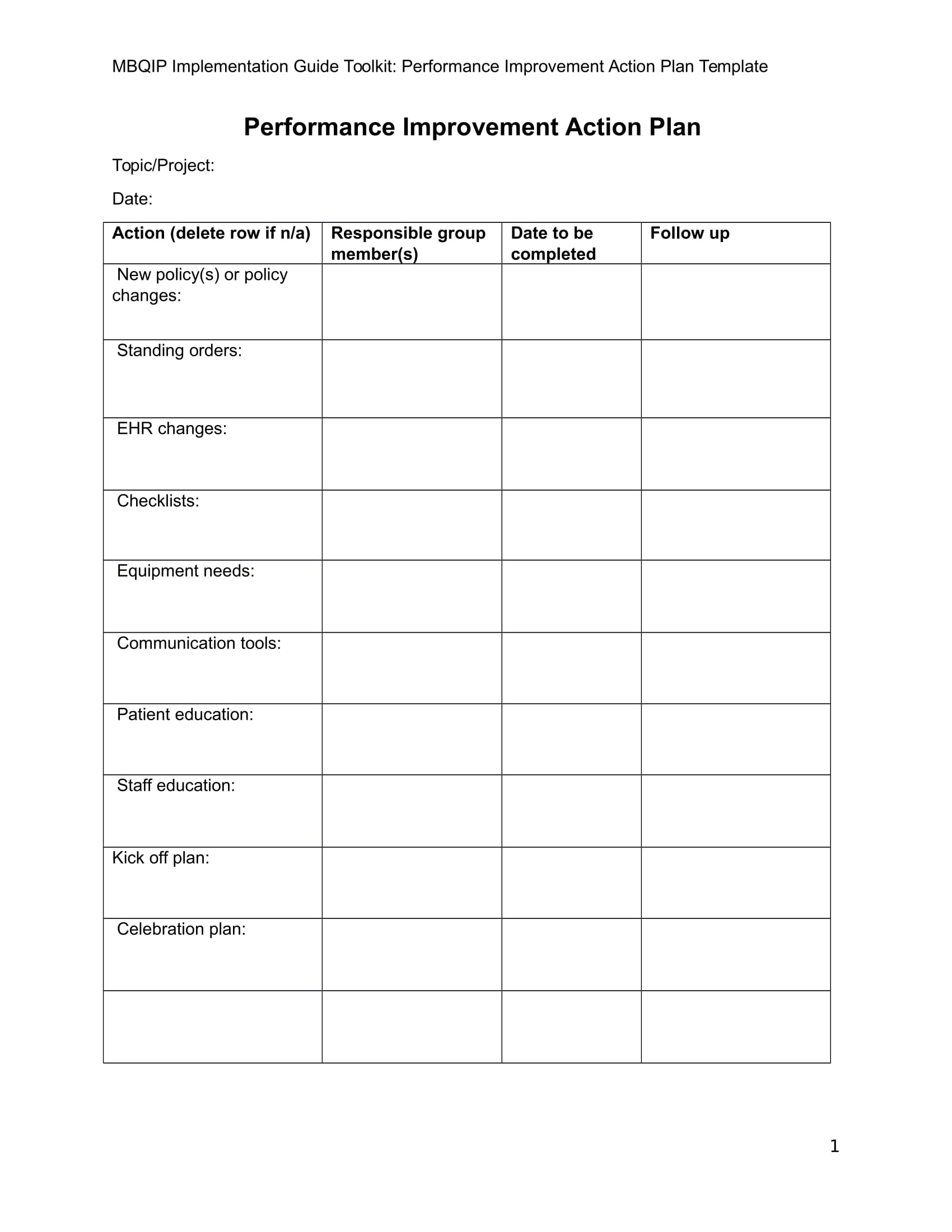detailed project action plan template example 1