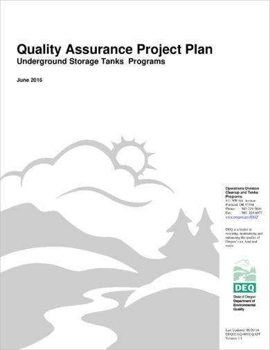 detailed quality assurance project plan example