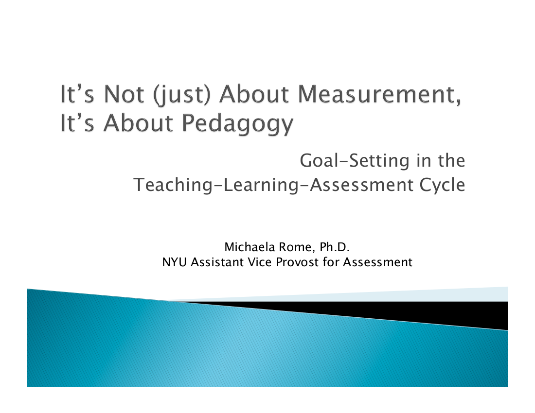 developing goals for teaching learning assessment cycle