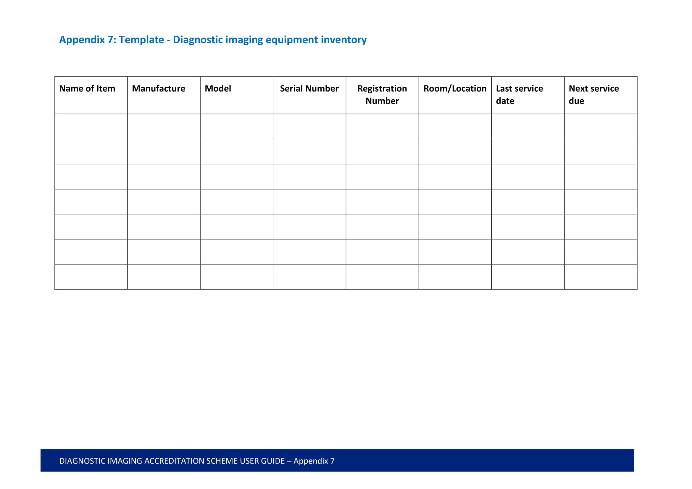 diagnostic imaging equipment inventory format example 1