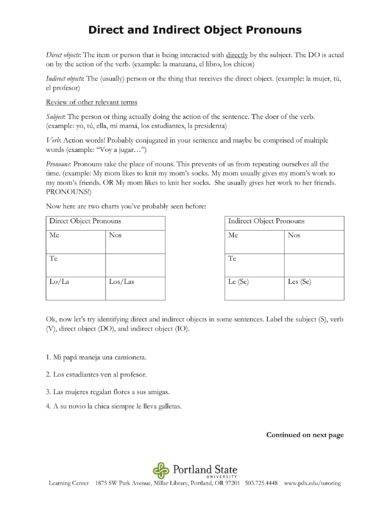 Direct Object Worksheets And Examples