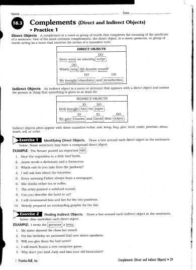 direct and indirect objects practice sheet example1