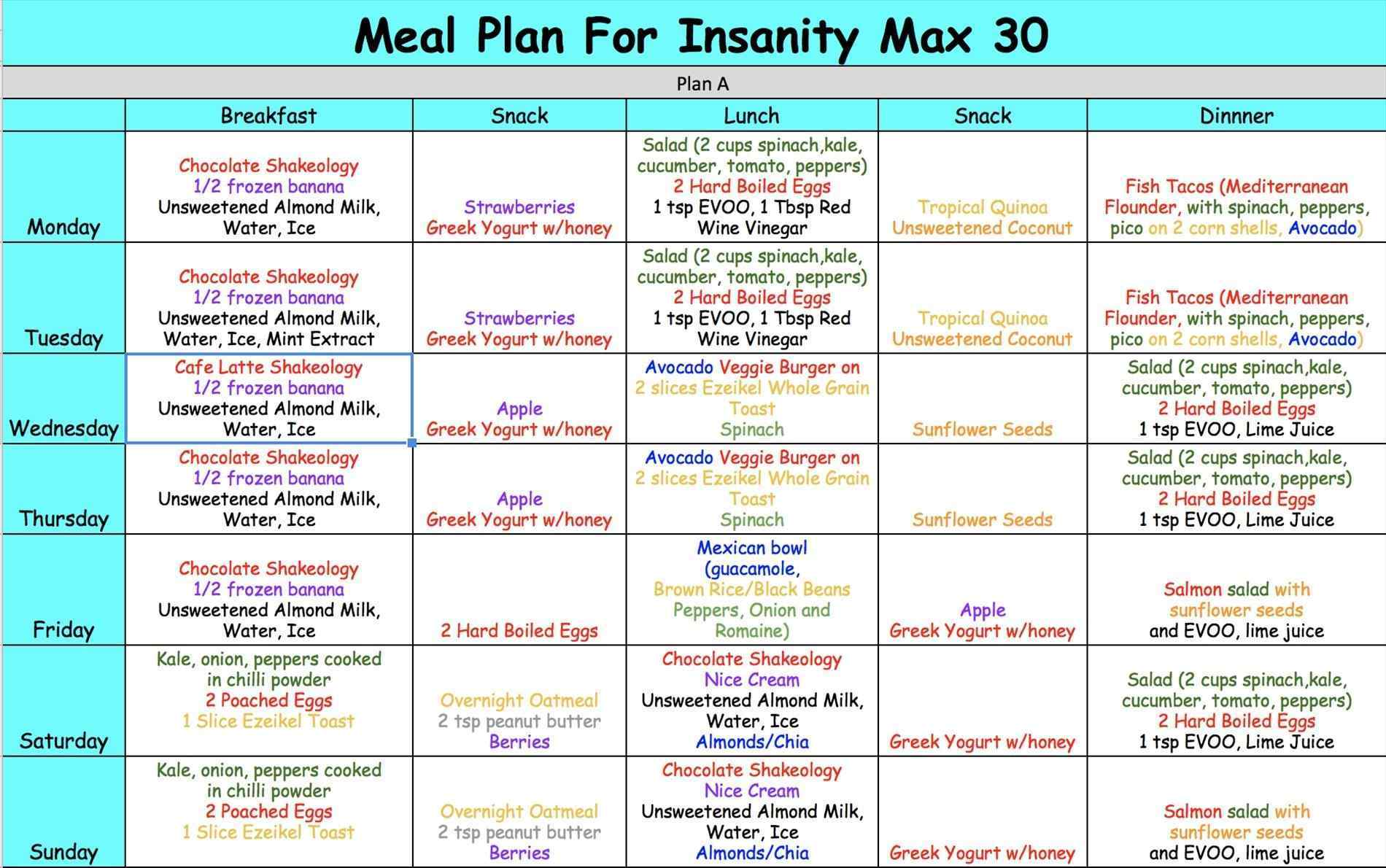 easy 30 day meal plan example