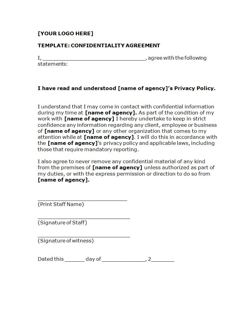 Editable Confidentiality Agreement Template Example