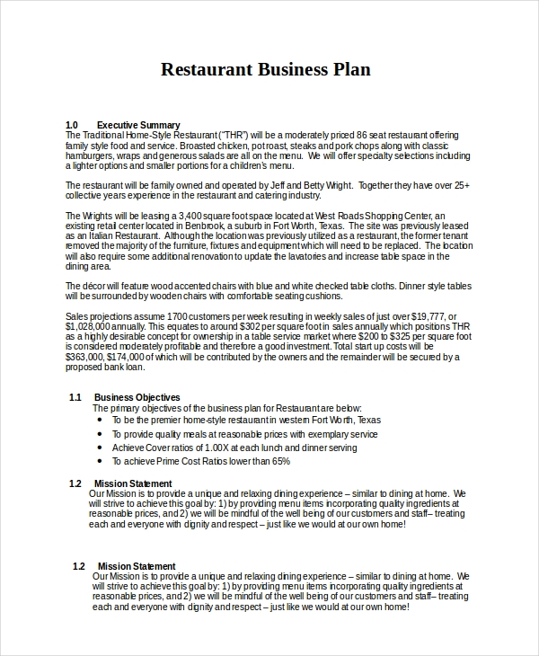 editable restaurant strategic plan example