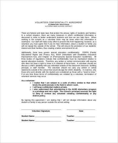 elementary education confidentiality agreement example1