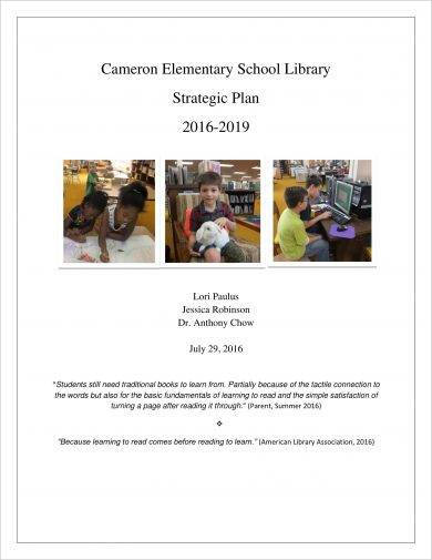 elementary school library strategic plan example