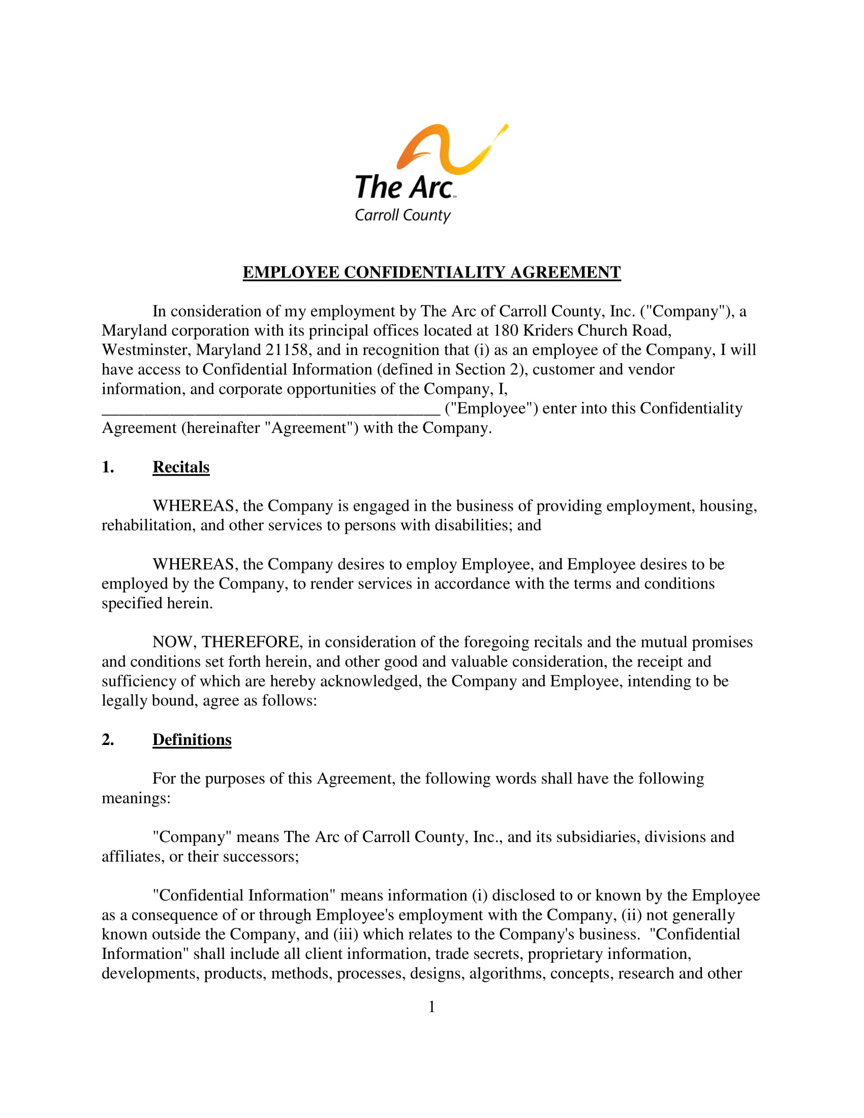 employee confidentiality agreement example 1