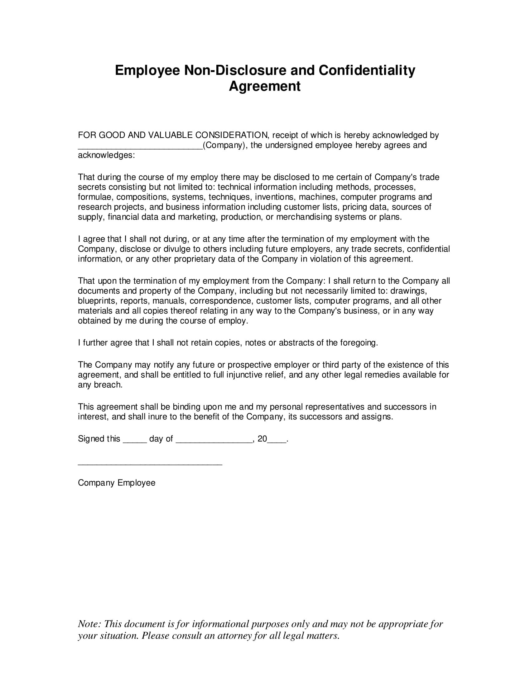 employee non disclosure and confidentiality agreement example 1