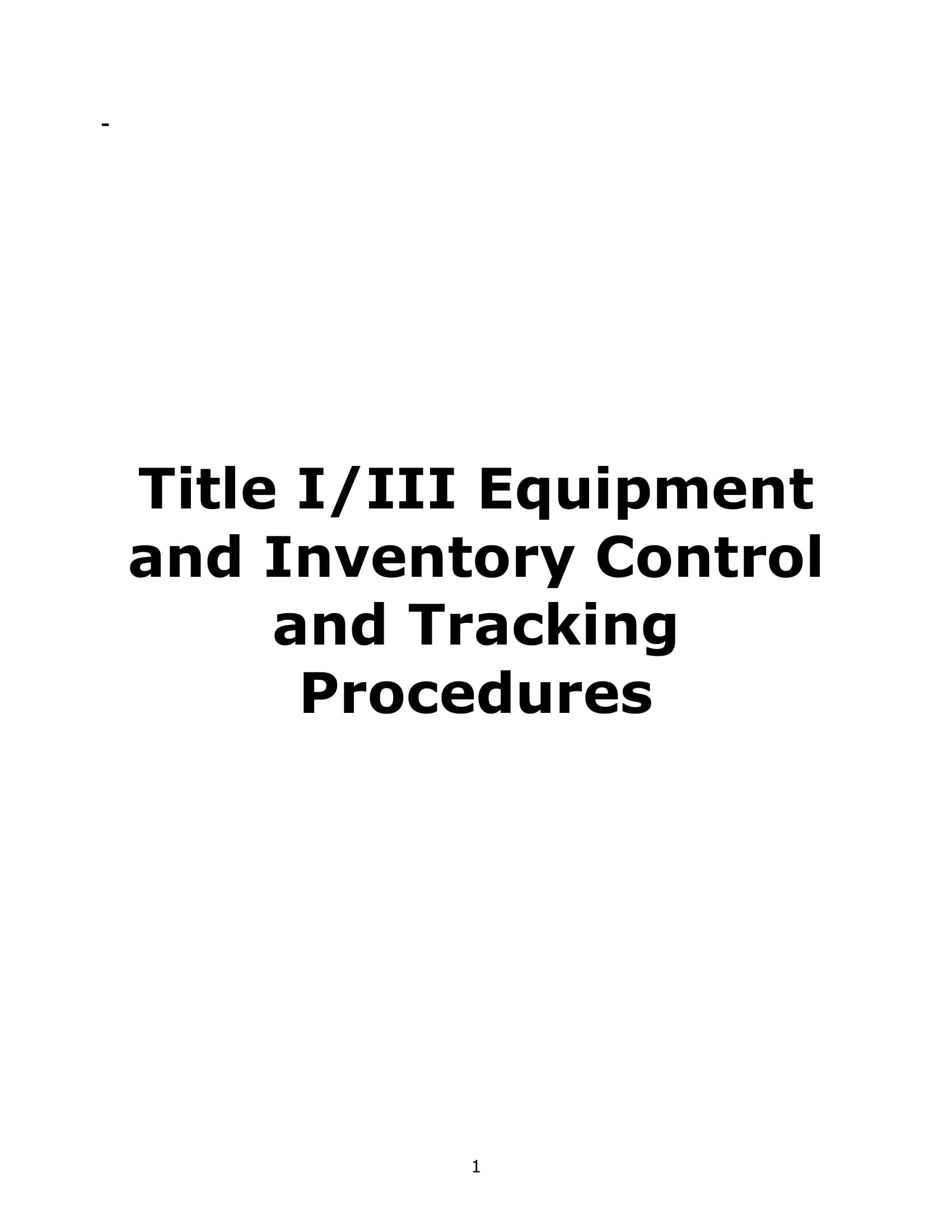 equipment and inventory control and tracking procedure example 11