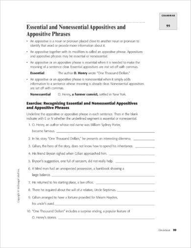 essential and non essential appositives and appositive phrases example
