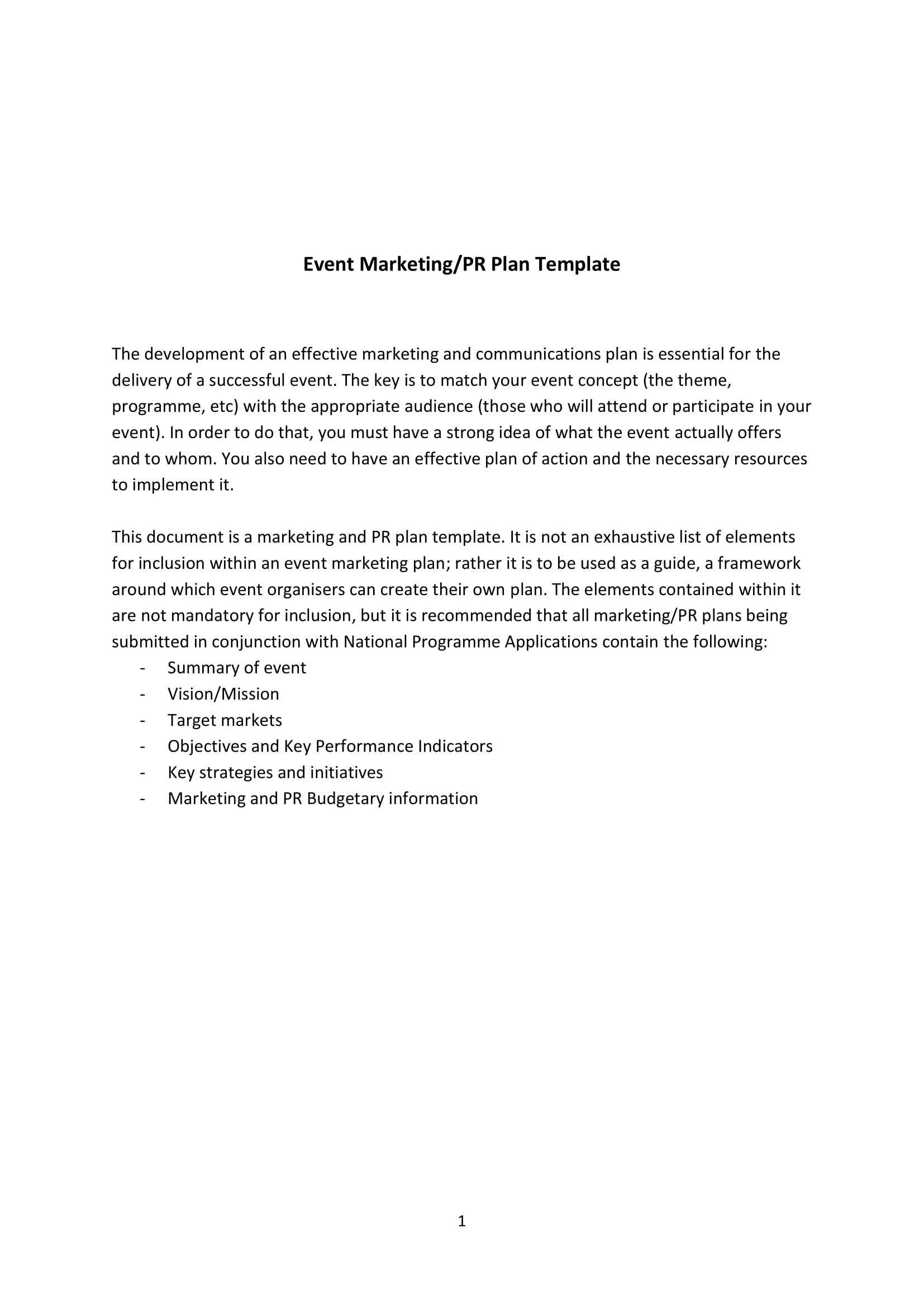 event marketing plan template form example 1