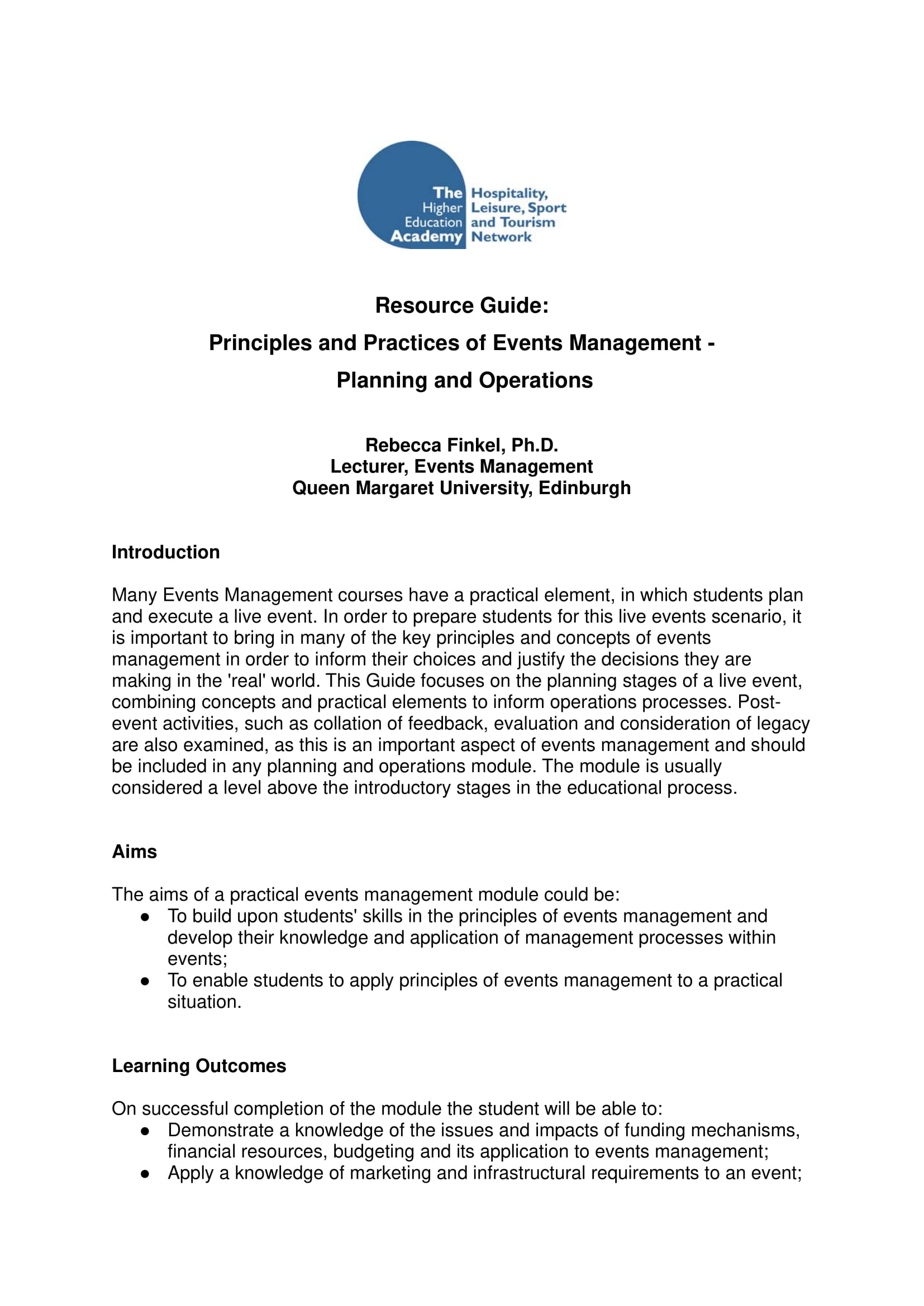 event operational plan and management principles and practices example 01