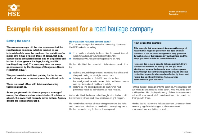 example risk assessment