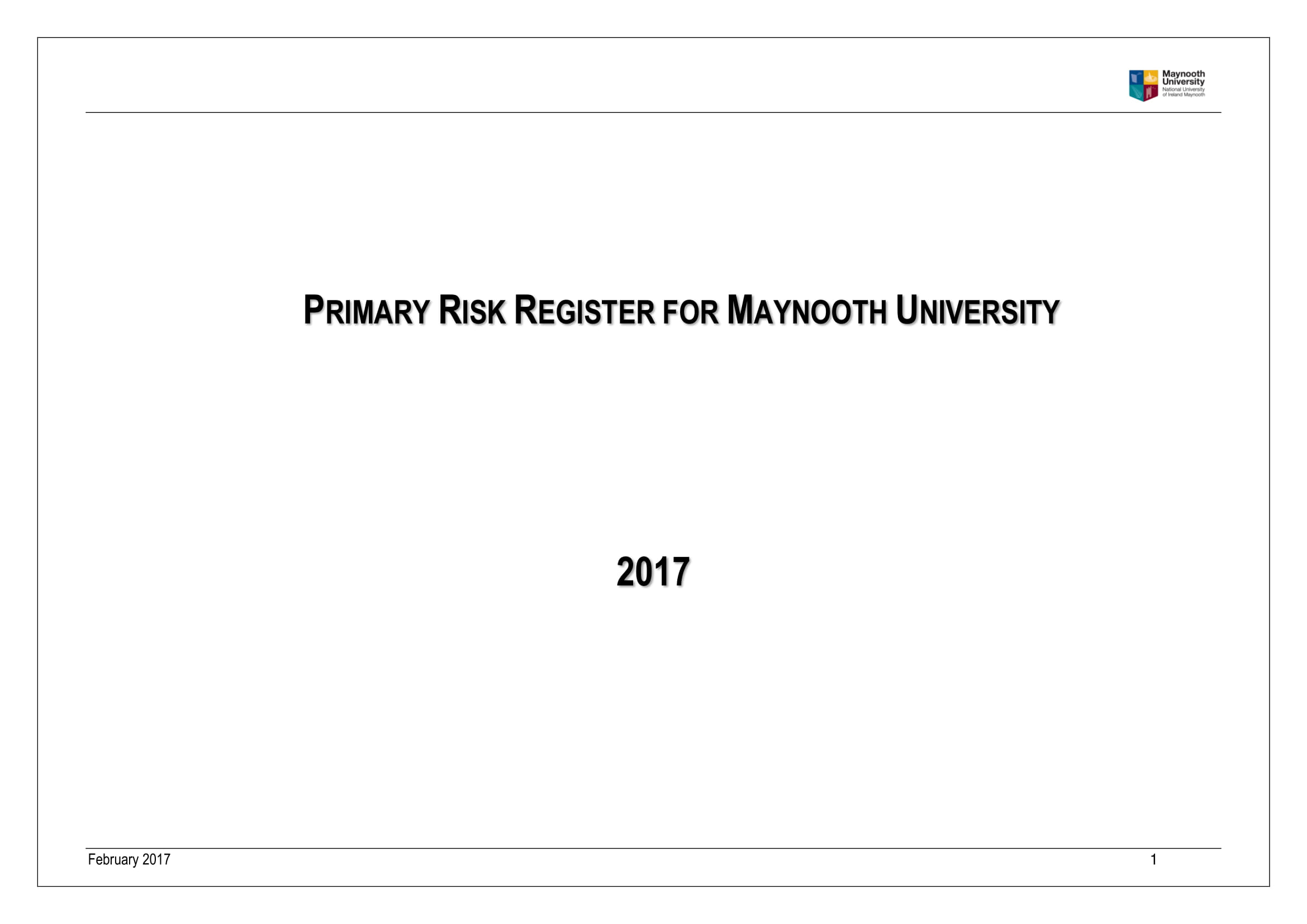 example of primary risk register for maynooth university