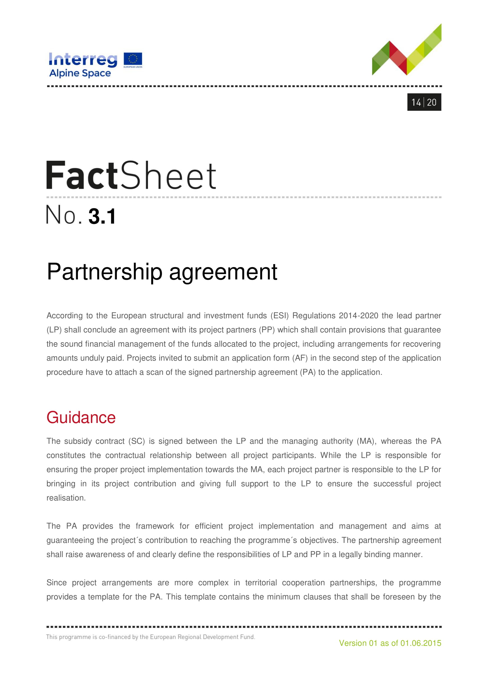 fact sheet partnership agreement example