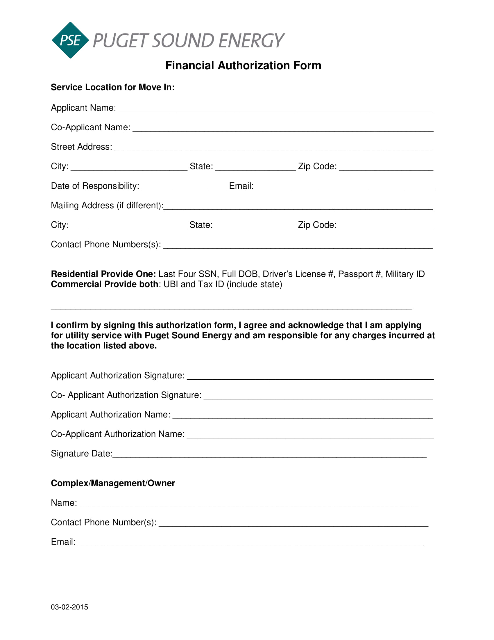 financial authorization form