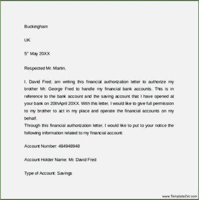 financial authorization letter format example