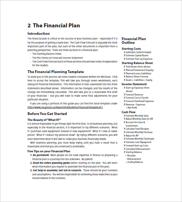 financial marketing plan outline example