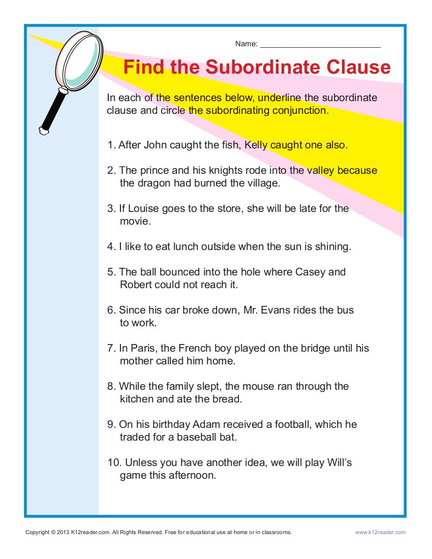 finding subordinate clauses worksheet