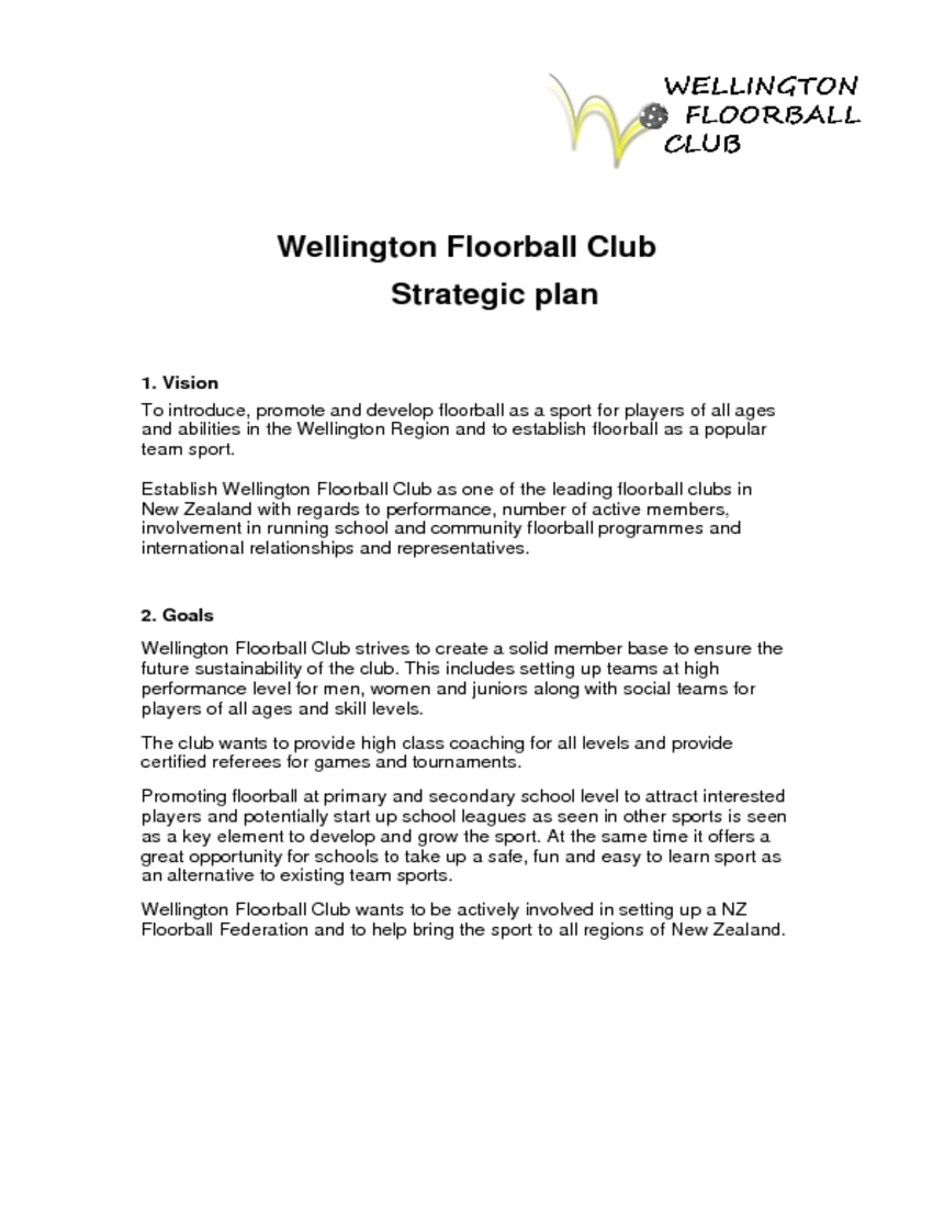 football club strategic plan example