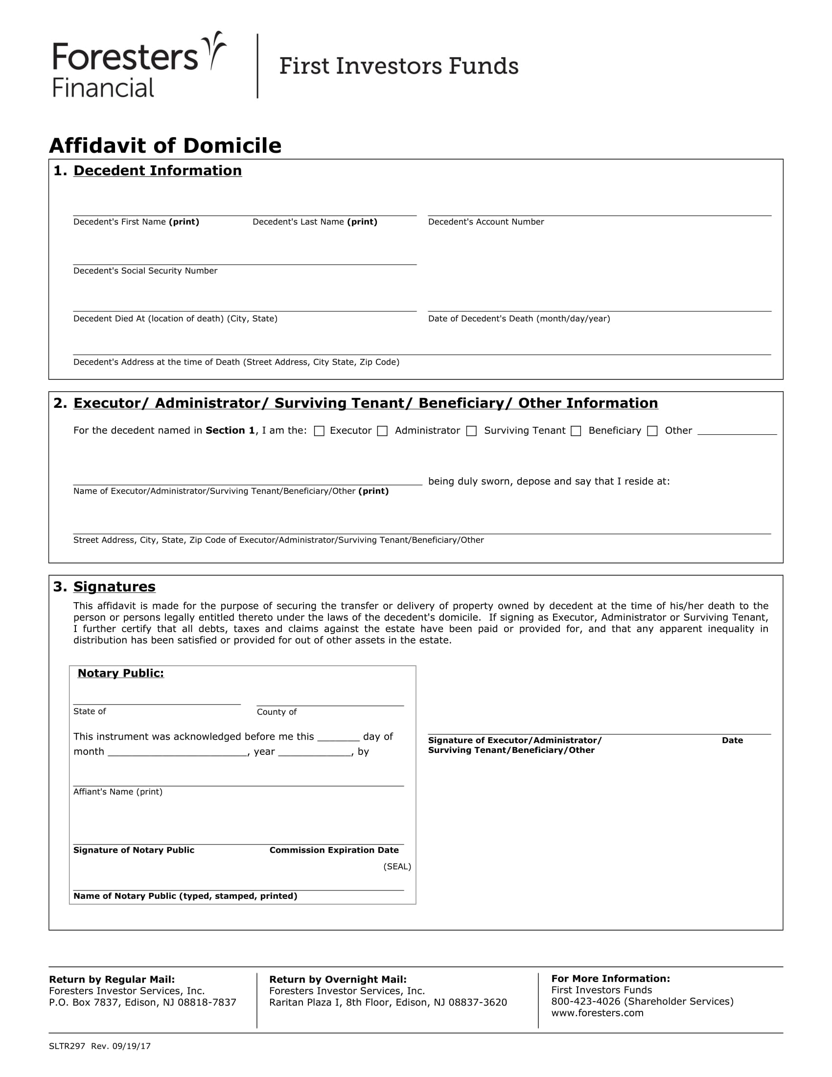 foresters financial affidavit of domicile example