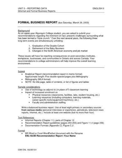 formal business report writing format example