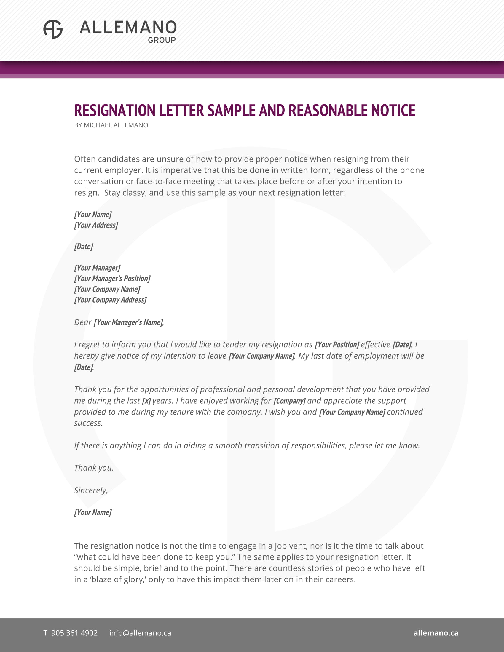 Official Resignation Letter Examples  Pdf Doc