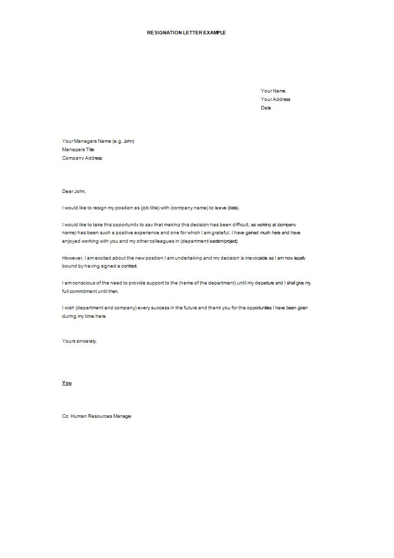 formal resignation letter template example