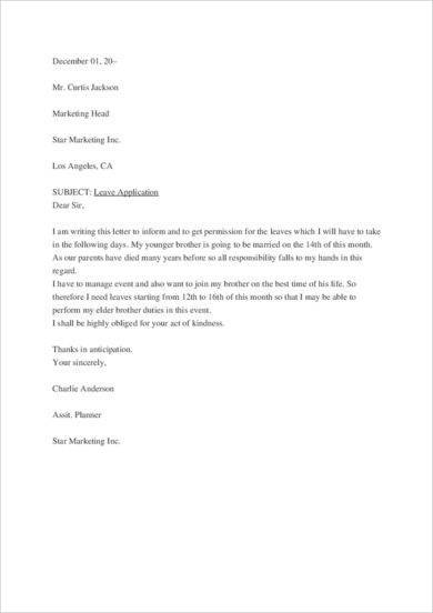 sick leave letter 9 official letter for leave examples pdf examples 24848 | Formal Sick Leave Application Letter Example2