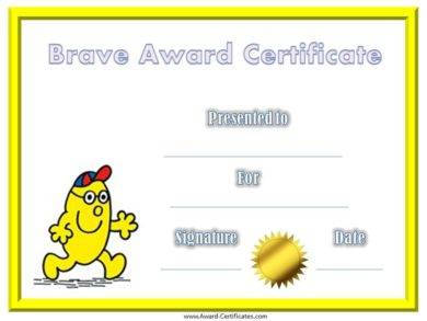 free bravery award certificate example1
