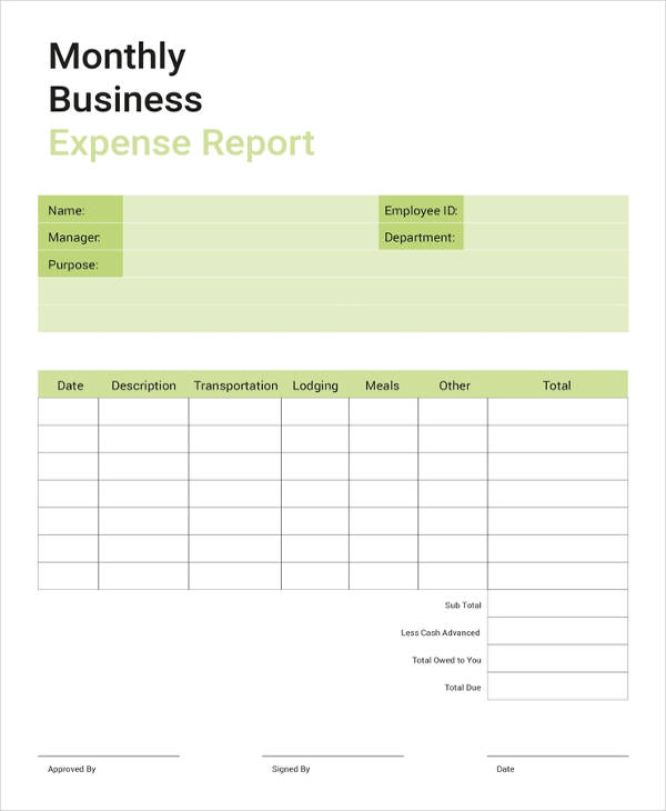 24 business report examples pdf doc free business expense report template accmission Images